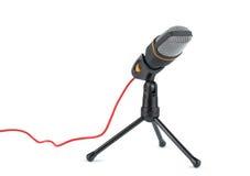 Microphone noir avec le support photos stock