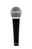 Microphone noir et argenté sur un fond blanc Image libre de droits