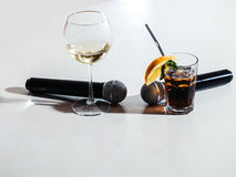 Microphone and nonalcoholic cocktail Stock Images