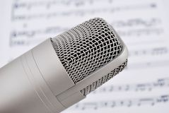 Microphone and notes Royalty Free Stock Photography