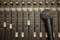 Microphone in old dirty sound mixer pult Royalty Free Stock Photo