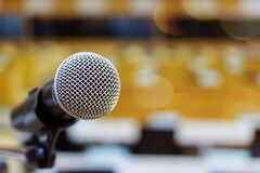 Free Microphone On A Podium Stock Photos - 170351953