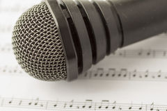 Microphone over score Stock Photo