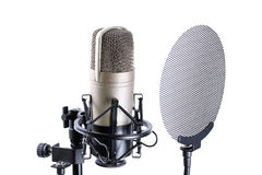 Microphone over white background Royalty Free Stock Photos