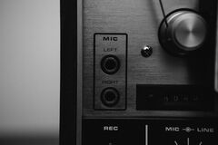 Microphone Panel on Vintage Recorder Royalty Free Stock Photography