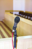 Microphone at the podium. To speak at the conference hall stock photos