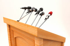 Microphone on Podium Stock Photo