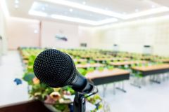 Microphone on podium. In the auditorium without participants royalty free stock images