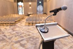 Microphone on the podium. In the seminar room stock image