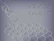 Microphone pointed at a group of people from above, people`s opi Stock Photo