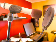 Microphone and pop filter Royalty Free Stock Photography