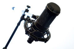 Microphone. Professional condenser microphone on a stand isolated on white background Stock Photo
