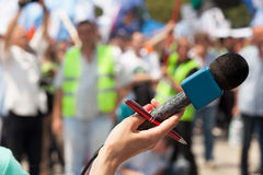 Microphone. Public demonstration. Royalty Free Stock Photos