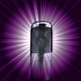 Microphone on  purple star burst Stock Images