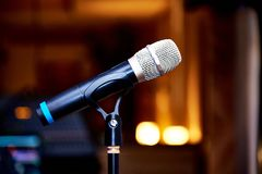 Microphone on the rack close-up royalty free stock photography