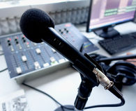 Microphone. A microphone in a radio studio stock images