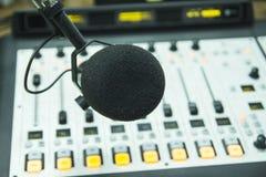 The microphone in the radio Studio. Audio console and microphone in the radio Studio Stock Image