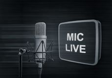 Microphone. In a radio studio Royalty Free Stock Image