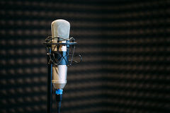 Microphone in the radio studio. Professional Microphone in the dark radio studio Royalty Free Stock Image