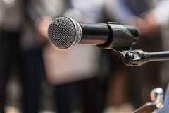 Microphone at a rally closeup Stock Photo