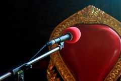 A microphone ready for a speaker, Royalty Free Stock Photography