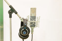 Microphone for recorder. A microphone for voice recording in the studio or studio Royalty Free Stock Photography