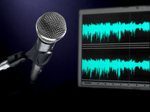 Microphone on recording studio. Royalty Free Stock Photos