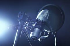 Microphone in recording studio royalty free stock photos
