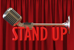 Microphone red curtain backdrop text stand up. 3D Illustration microphone against red curtain backdrop text stand up royalty free stock photo