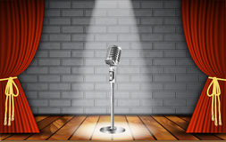 Microphone and red curtain Stock Photo