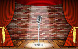 Microphone and red curtain stock illustration