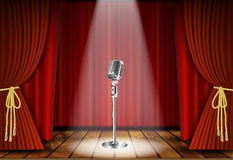 Microphone and red curtain Royalty Free Stock Images