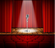Microphone and red curtain Royalty Free Stock Photography