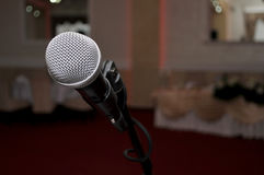 microphone in the red hall for wedding. Novi Sad, Serbia Royalty Free Stock Image