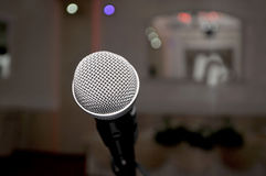 microphone in the red hall for wedding. Novi Sad, Serbia Royalty Free Stock Images