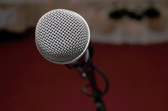 Microphone in the red hall for wedding. Novi Sad, Serbia royalty free stock photo