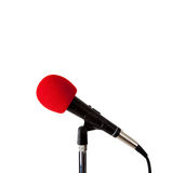 Microphone with Red Windscreen Stock Photo