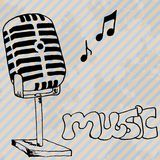 Microphone retro hand drawn design card Royalty Free Stock Photography