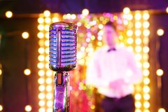 Microphone. Retro microphone. A microphone on stage A pub Bar royalty free stock photos