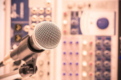 Microphone with retro picture style, Close up of microphone in concert hall or conference room Stock Image