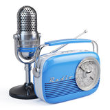 Microphone and retro radio. On white background Stock Photos