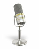 Microphone retro. Silver perspective view (isolated and clipping path Royalty Free Stock Photo