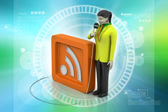 Microphone with rss sign, communication concept Stock Images