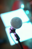 Microphone on scene close up Royalty Free Stock Photography