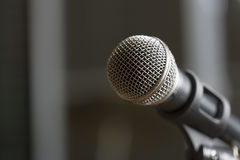Microphone on selected focus. Stock Photo