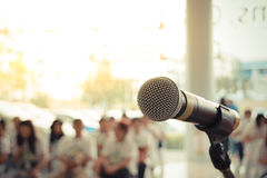 Microphone in seminar event Stock Photo