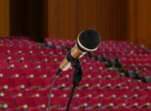 Microphone in seminar hall. Image of microphone in seminar hall Stock Photo