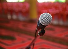 Microphone. Short depth of field with front of microphone in focus and back of it out of focus royalty free stock image