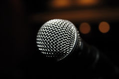 Microphone. Short depth of field with front of  in focus and back of it out of focus stock photos