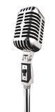 Microphone. A single metal gray microphone on a metal hilt Royalty Free Stock Image
